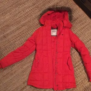 Abercrombie&Fitch Red Feather/Down Hooded Fur Coat